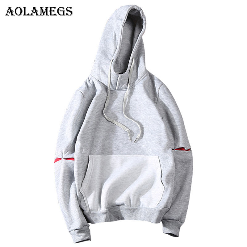 Aolamegs Hoodies Men Patchwork Pocket Hood Pullover High Street Sweatshirt Men Fashion Hip Hop Streetwear O-Neck Hoodie Autumn