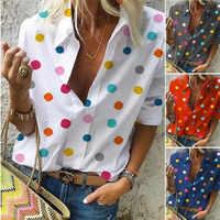 2019 autumn Blouse Top for Women Casual Long-sleeved Loose Dot Print Deep V-neck Shirt Bluzki Damskie Fashion Women Blouses