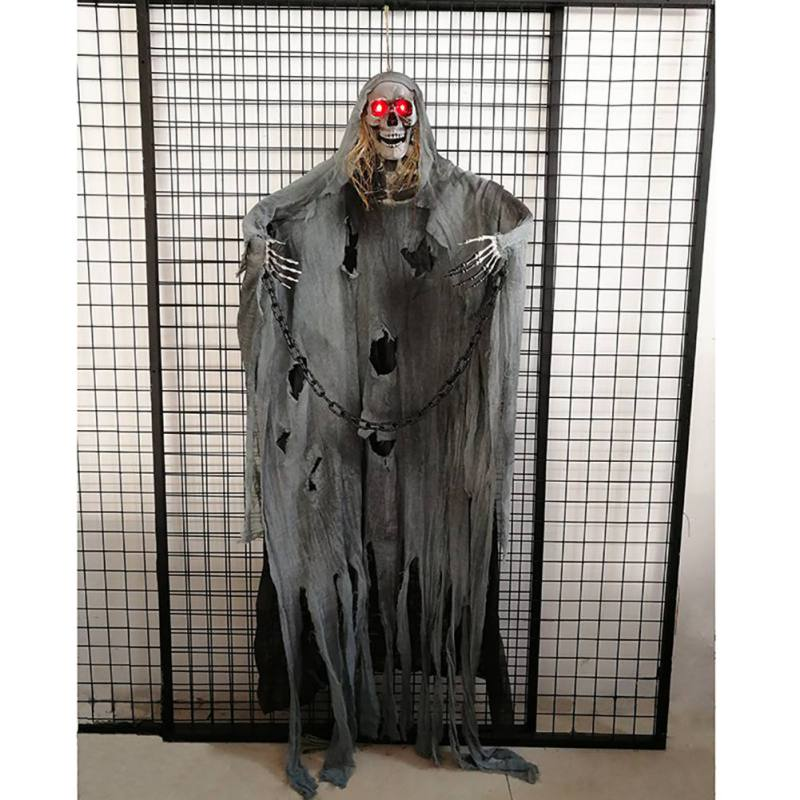 Halloween Hanging Ghosts Voice activated scream Ghosts Haunted House Escape Horror Props Light up Eyes Hanging Black Face Ghost