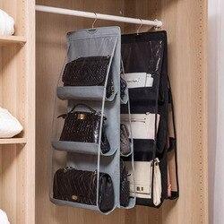 Icozzier 6 bolso pendurado bolsa organizador para saco coletar guarda-roupa armário saco de armazenamento à prova de poeira porta saco de parede com gancho para cima