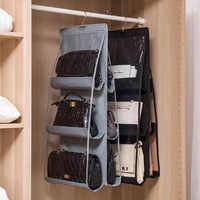 iCozzier 6 Pocket Hanging Handbag Organizer for Bag Collect Wardrobe Closet Dustproof Storage Bag Door Wall Bag with hook up