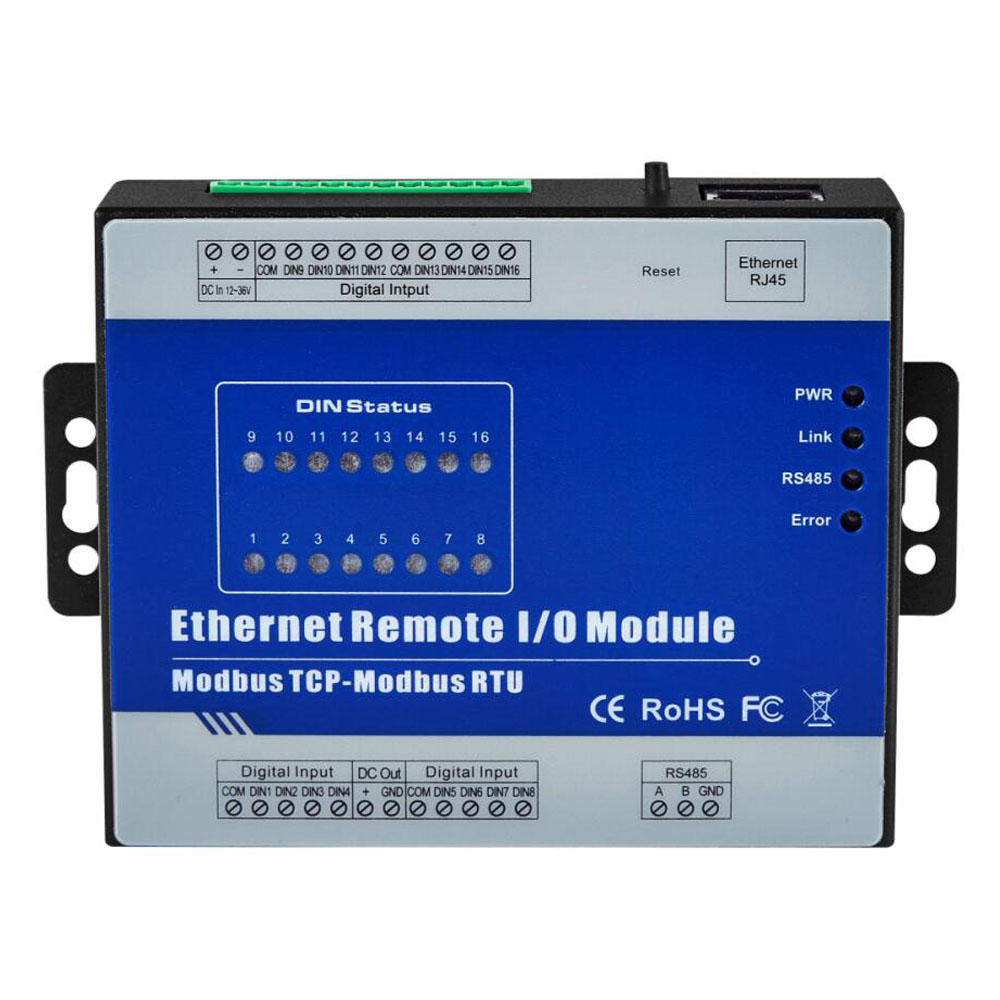 Modbus Ethernet Converter 1 With RS485 Serial Port Modbus TCP Ethernet Remote IO Module 16 Relay