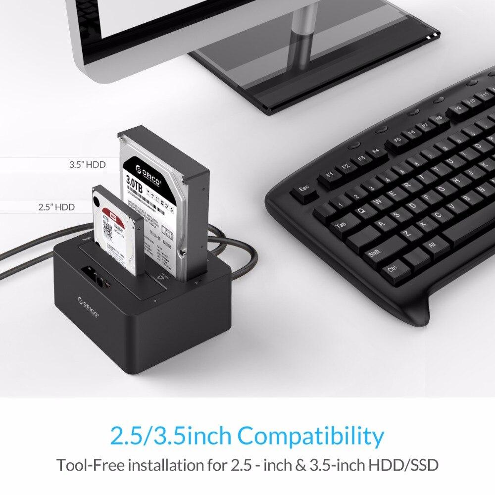 ORICO 6629US3 Station d'accueil pour disque dur externe 2 baies USB3.0 à SATA 2.5 3.5 po avec Support de Clone hors ligne protocole UASP 16 to - 2