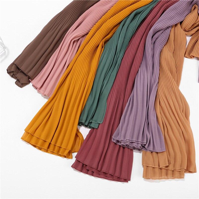 10pcs women plain pleated chiffon hijab   scarf     wraps   long islamic shawls muslim headscarf crinkle ruffle chiffon   scarves   hijabs