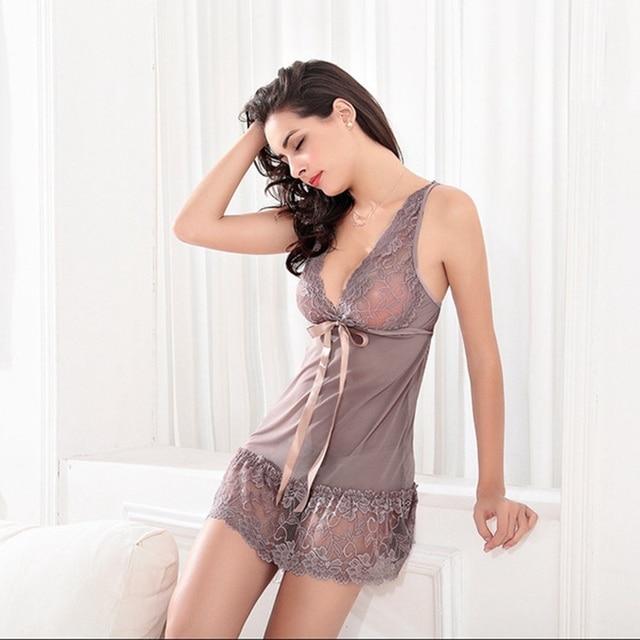 Lace Nightgown Women Sleepwear Pyjamas Summer Negligee Babydoll Nightwear Sexy Lingerie Bathrobe Female Nightdress Home Clothes 5