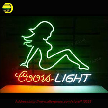 Neon Sign Coors Light Golf Bikini Girl Cowboy Cayenne Cushaw Mud Flap Girl Texas Lone Star Glass Tube Handcrafted Neon 17×14