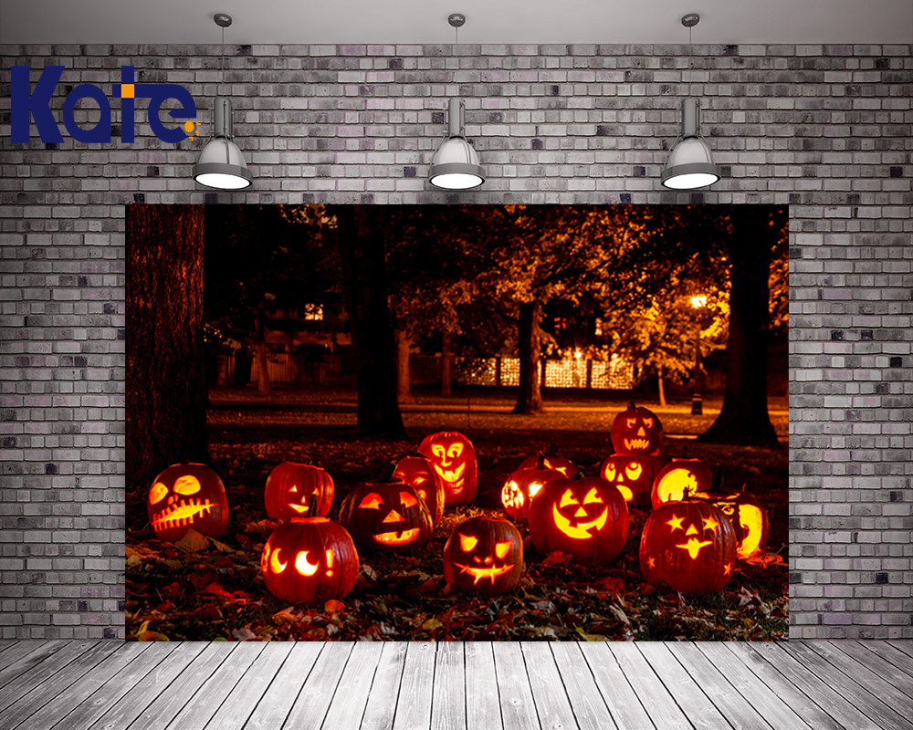 Kate Backdrops Photography Halloween Night Pumpkin Forest Background For Children Natural Photographic Studio