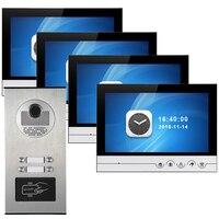 Видеодомофон 9 дюймовый видеодомофон RFID дверь контроля доступа записывающая видеокамера для 6 единиц