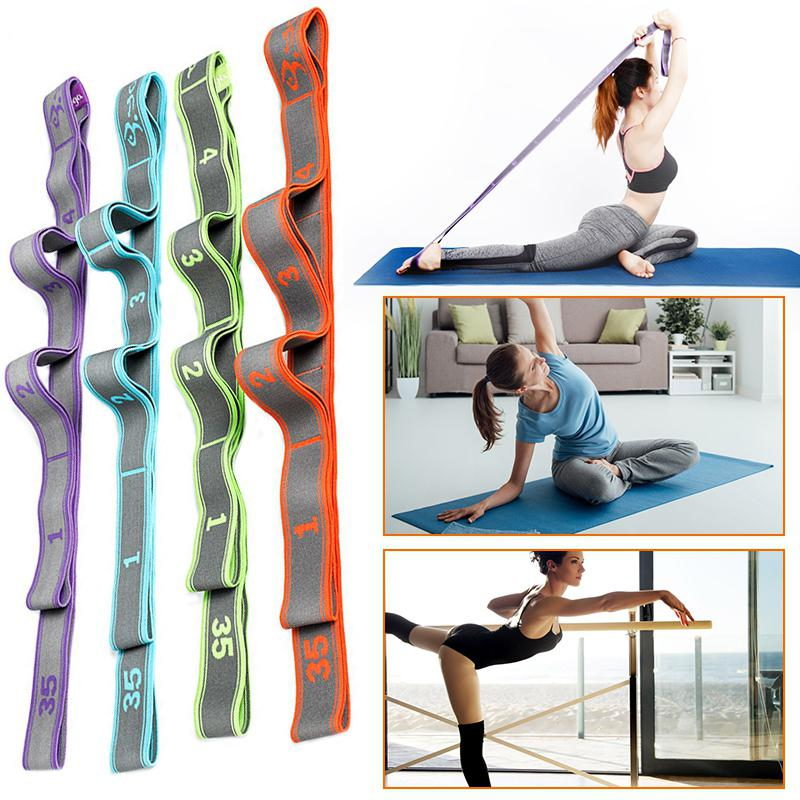 Yoga Belts Adjustable Exercise Stretch Strap Fitness Elastic Yoga Belt Waist Leg Resistance Gym Rope On For Beginner Children