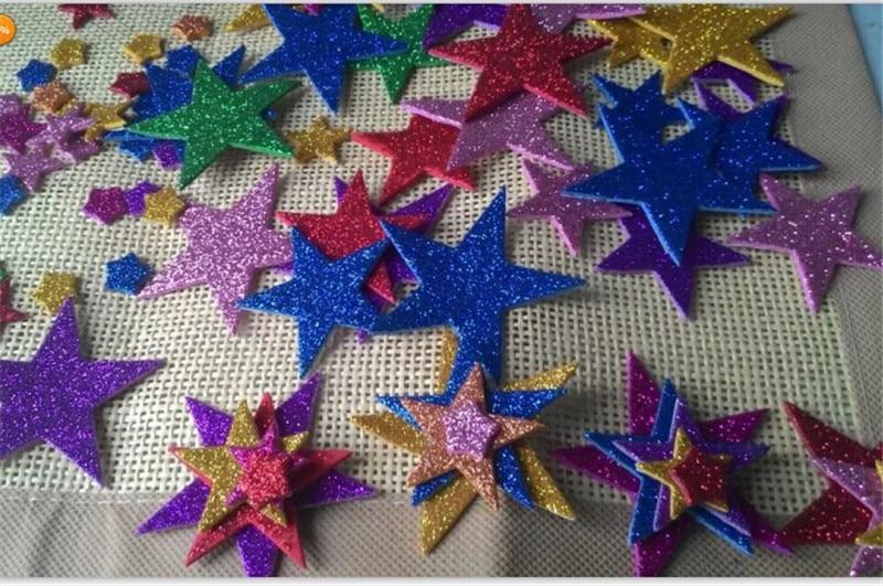 1 упаковка пены наклейки с блестками Звезда Форма для создания свадебного украшения Маленькая подвеска в форме сердца бумажные для дня рождения поставки наклеек - Цвет: Star