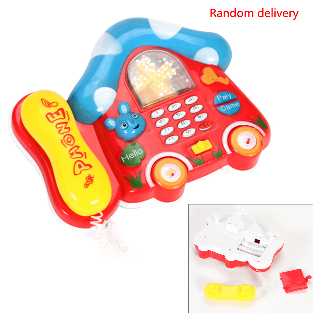 1PC Children Kids Mini Colorful Electric Music Telephone Sounds Toys Gift Random Color
