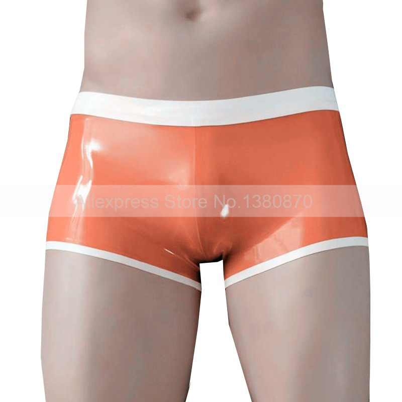 Orange et Blanc Latex En Caoutchouc Homme Boxer Culottes Masculins Latex Porter aucun Zip S-LPM042