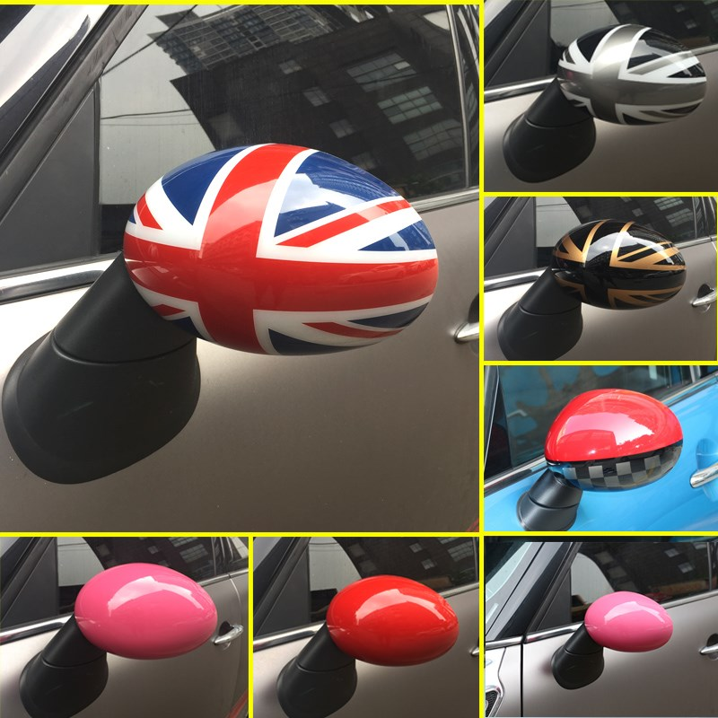 2pcs car golden red black union jack mirror checkered pink cover for mini cooper s r55