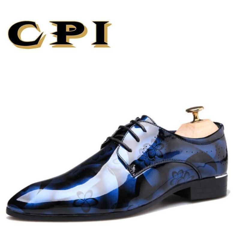 IPC Nouvelle Mode Brogue robe en cuir chaussures à lacets en cuir casual bout Pointu Boîtes de Nuit chaussures de mariage chaussures d'affaires zy-21
