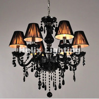 Modern Black European Crystal Chandelier Black Lights Living Room Candle Crystal Chandeliers Modern E14 Retail And