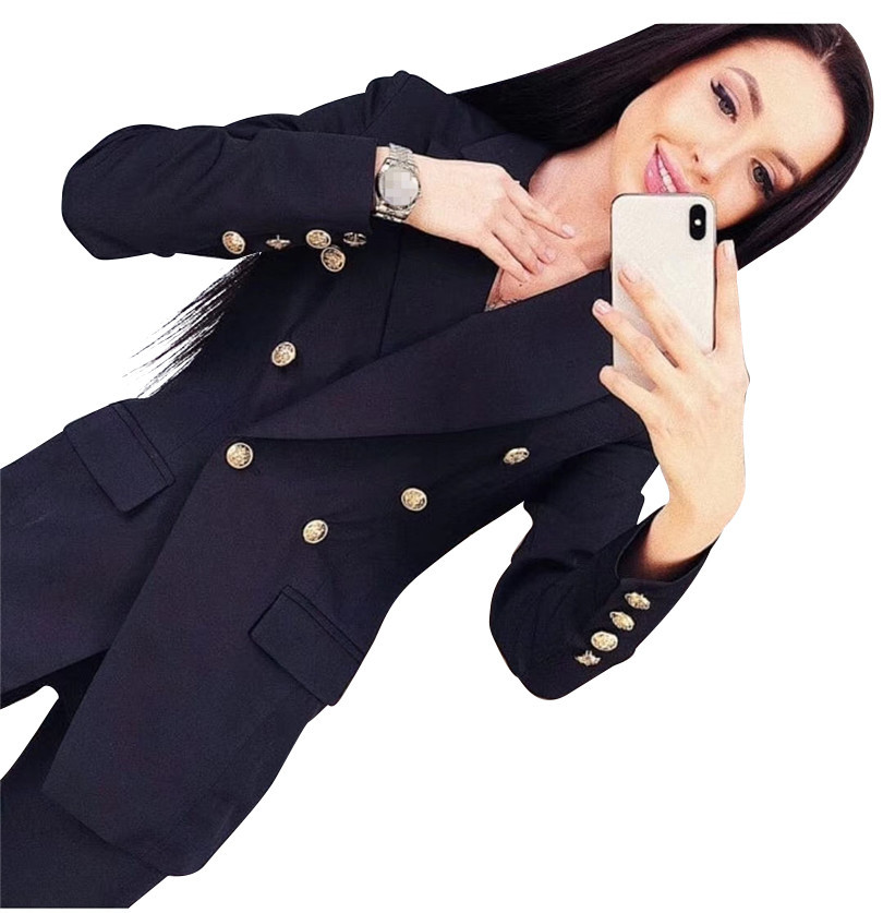 Woman Pant Suits Office Lady Sets Double Breasted Lined Blazer Jacket & Trousers 2 Piece Set