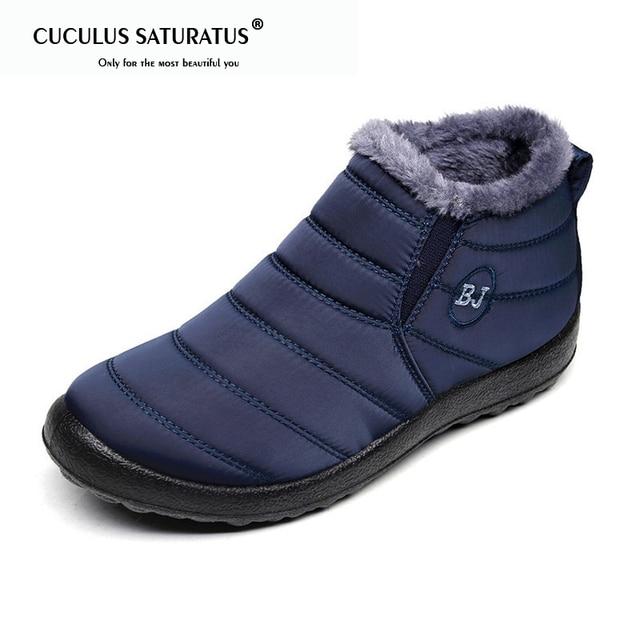 Cuculus Mulheres Sapatos de Inverno Cor Sólida Botas de Neve de Pelúcia Dentro de Fundo Antiderrapante Manter Aquecido Botas De Esqui Impermeável Tamanho 35- 43 1364