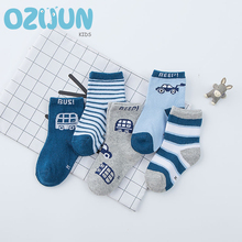 Фотография Autumn Winter 5 Pairs / Lot Children Resilience Cotton Socks for Girl Boy sweat Breathable 1-3Y/4-6Y/7-10Y