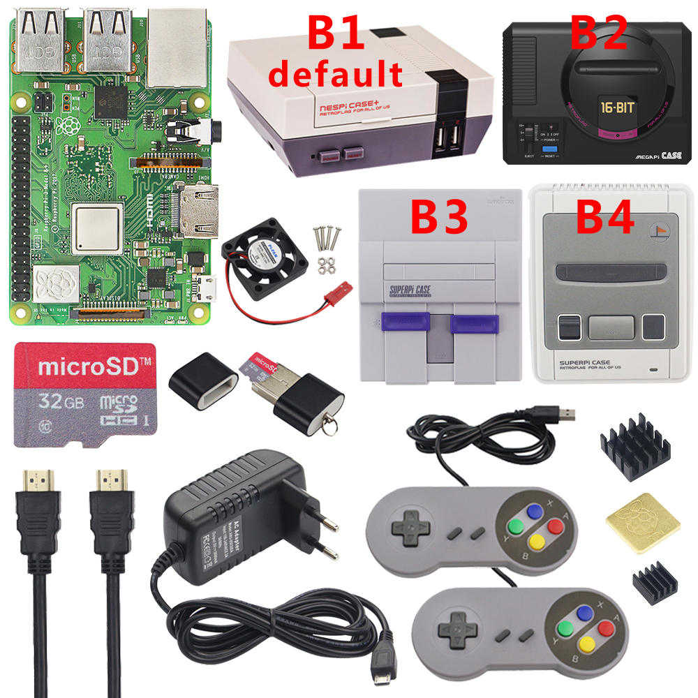 Raspberry Pi 3 modèle B Plus kit de jeu + alimentation + carte SD 32G + câble HDMI + dissipateur de chaleur + boîtier Retroflag NESPi pour Retropie 3B Plus