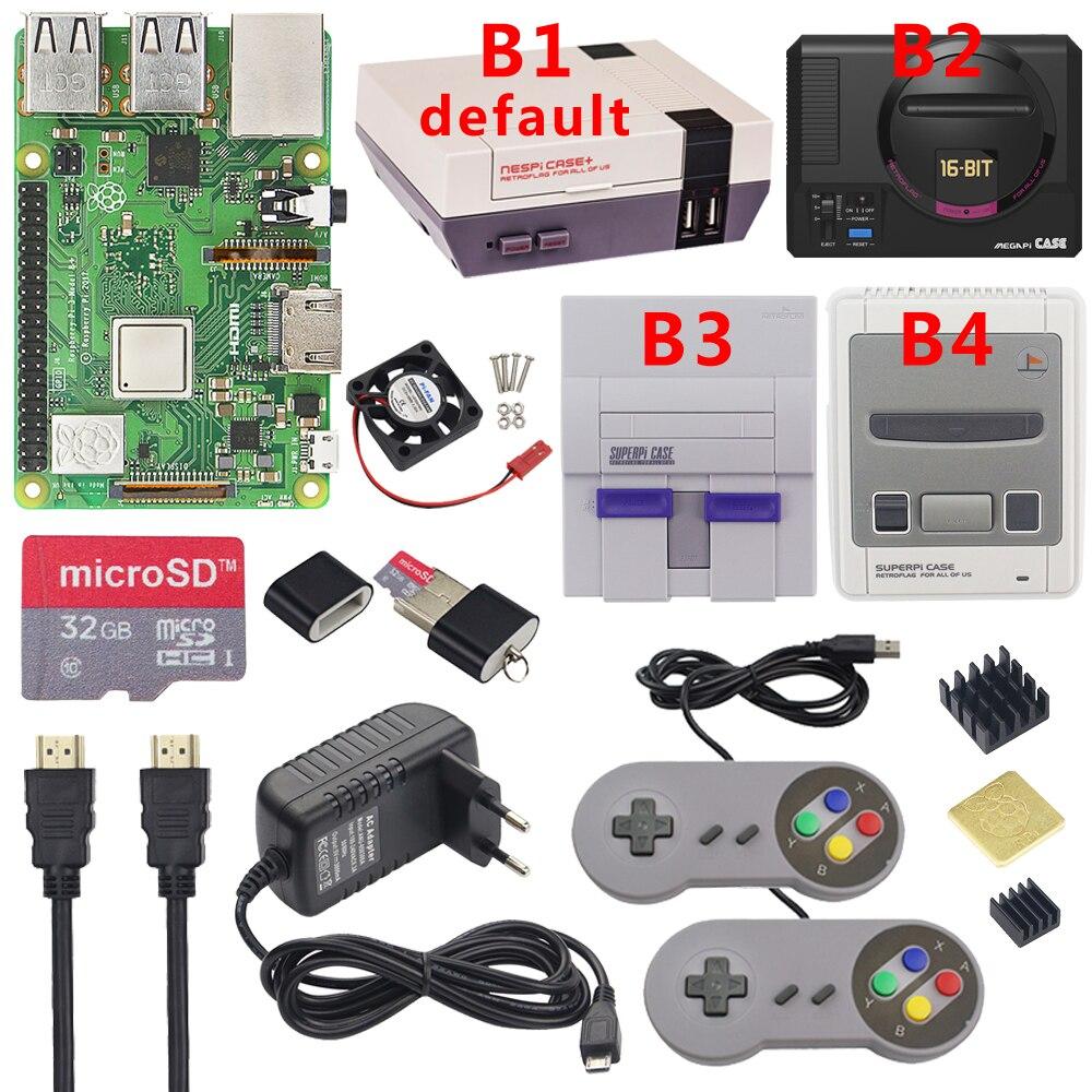 Raspberry pi 3 modelo b plus jogo de jogos + fonte alimentação 32g cartão sd cabo hdmi dissipador calor retroflag nespi caso para retropie 3b plus