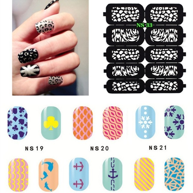 Nail Hollow Stencil Hollow Out Nail Art Template Sticker Decal ...