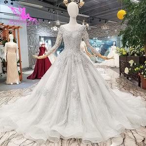 Image 3 - AIJINGYU نوفا فستان الزفاف كوتور زي العرائس البلد تول امرأة طويلة 2021 الجمارك أحدث ثوب الحجاب الساتان فساتين الزفاف
