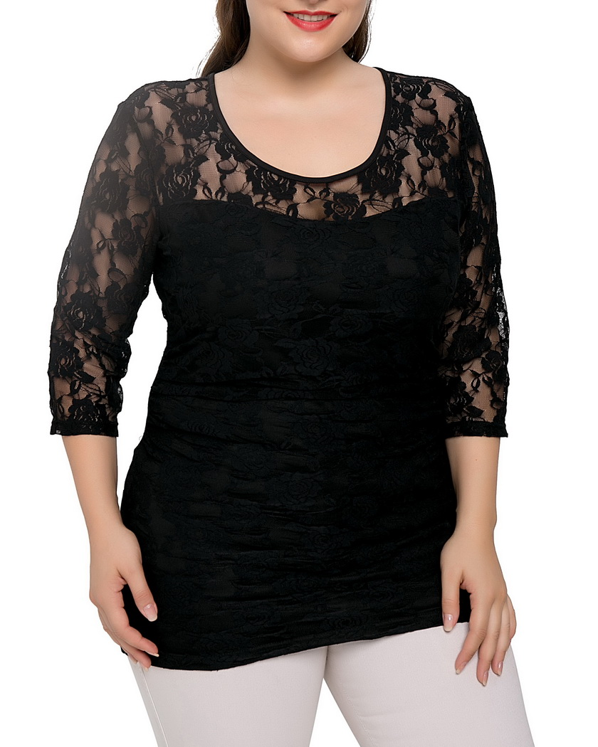 547e2bb6d69d0 Chicwe Women s Plus Size Black Lace Top Stretch Smitten Blouse Shirt Large  Size Tunic Big Size 1X 4X-in Blouses   Shirts from Women s Clothing on ...