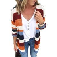 Sweater Women Jumper Cardigan Women's Free Shipping 2019 Autumn And Winter An American Style Street Wear Rainbow Stripes