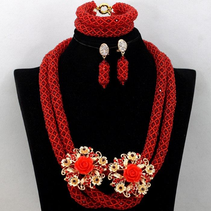 Populaire vin rouge nigérian femmes fête perles collier ensemble de mariage africain bijoux de mariée ensemble cadeaux de fiançailles livraison gratuite QW720