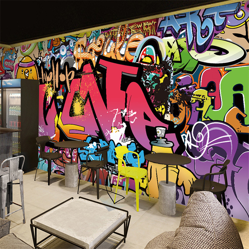 Beibehang Free Shipping Large Mural Bar Corridor Background Wallpaper Cafe Street Art Graffiti 3D Bedroom Wallpaper Mural