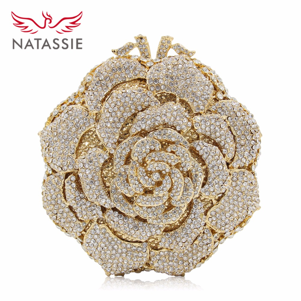 NATASSIE Women Evening Clutch Bag Ladies Gold Bags Party Clutches Rose Wedding Purses natassie women evening bags ladies crystal wedding clutch bag female party clutches purses