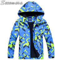 SexeMara Outdoor waterproof breathable open chest zipper shirt with cap print children's jacket children's windbreaker