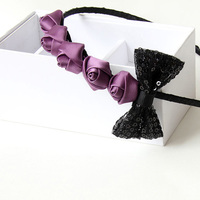 Female Vintage Sweet Hairwear Women Hairband Fashion Rose Bow Tie Purple Accessories Chic Elegant Delicate Appointment