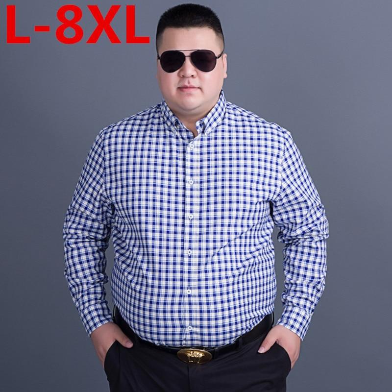 large size 8XL 7XL Men's classic plaid shirt Long sleeve dress shirt