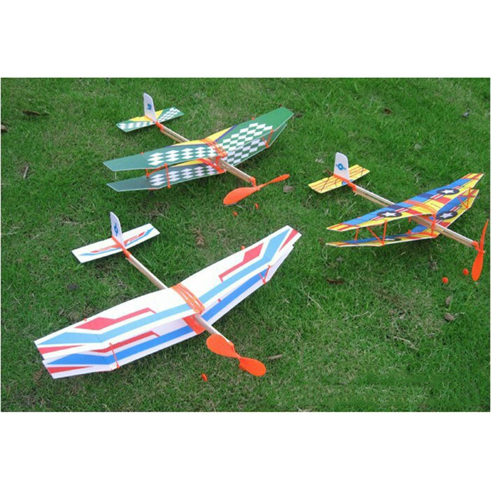 Hot Selling 50 43cm Toy Rubber Band Powered Glider Biplane Assemble Aircraft Plane Model For Kid