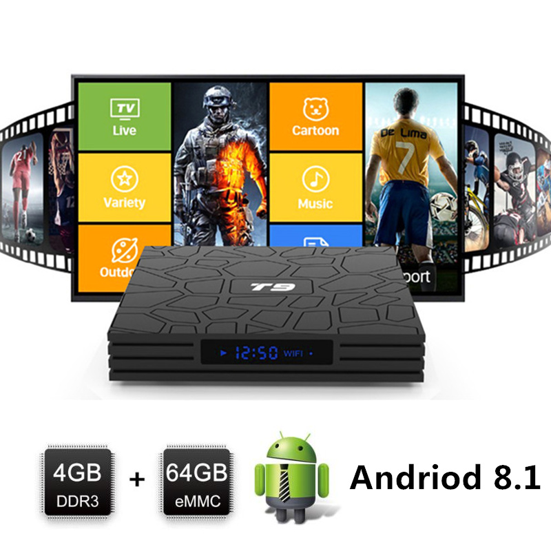 t9 android tv box android 8 1 smart box tv android 8.1 4gb 64 ddr3 Rk3328 Quad Core 2.4 & 5 g WIFI BT4.0 android tv set top box