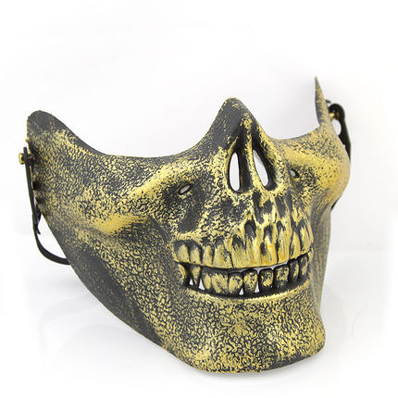 US $2 48 39% OFF|Plastic Horror Skull Jaw Mask Terror Half Face Shied Human  Skeleton Warrior Ghost Mask for Halloween Party TB Sale-in Party Masks