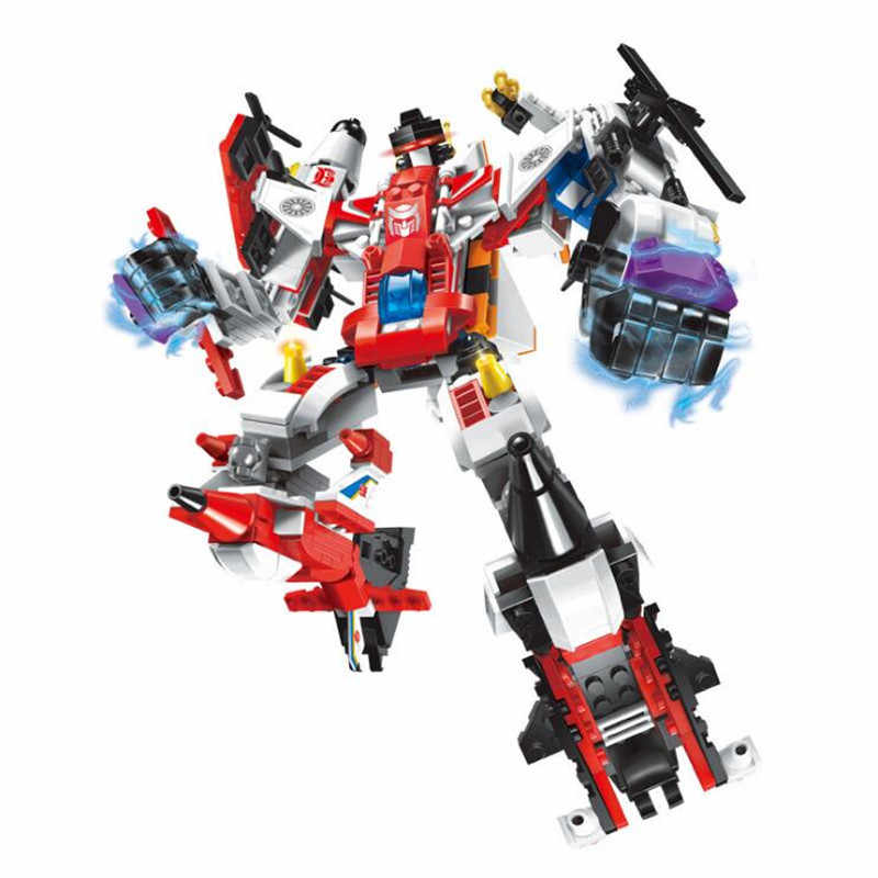 6 In 1 Mecha Robot Transform Helicopter Aircraft Compatibie Legoings Building Blocks Toy Kit DIY Educational Birthday Gifts