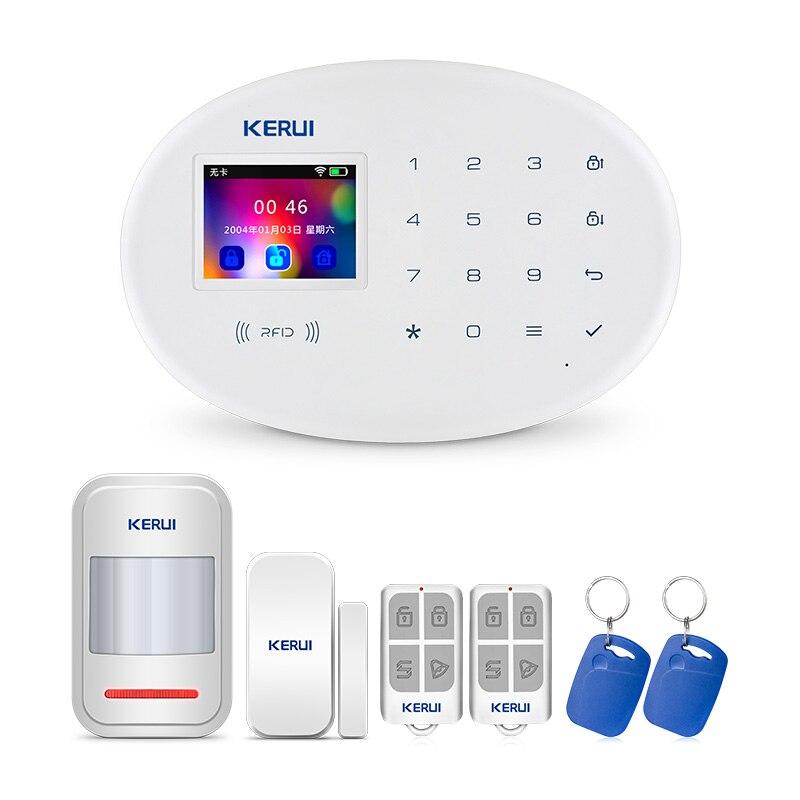 KERUI WIFI GSM Système D'alarme de Sécurité À Domicile Avec 2.4 pouce TFT Tactile Panneau APP Contrôle RFID Carte Sans Fil Maison Intelligente antivol Alarme