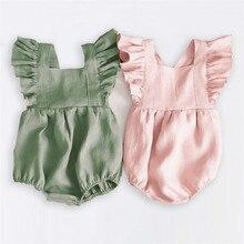 Весенние Комбинезоны для маленьких девочек; одежда принцессы с оборками для малышей; Одежда для новорожденных; Комбинезоны для младенцев; летняя одежда для малышей