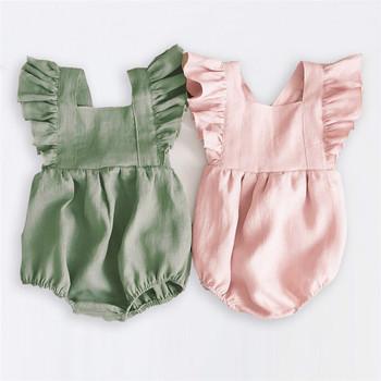 Wiosna dziewczynek pajacyki Ruffles księżniczka odzież dla dzieci Bebe Roupas noworodek ubrania dla niemowląt kombinezony letnie ubranko dla dziecka tanie i dobre opinie COTTON Stałe Plac collar Swetry Dziecko dziewczyny Bez rękawów Baby Girl Rompers Pasuje prawda na wymiar weź swój normalny rozmiar