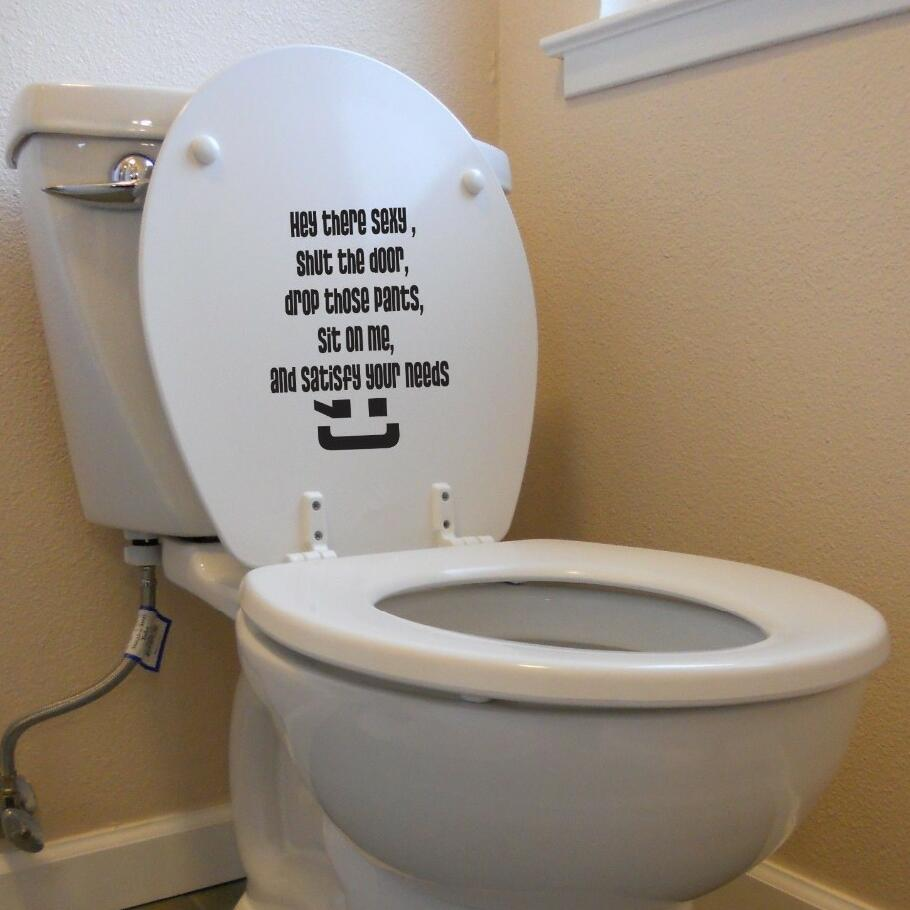 Creative Words Toilet Decal Sticker Hey Sexy Love Sit On