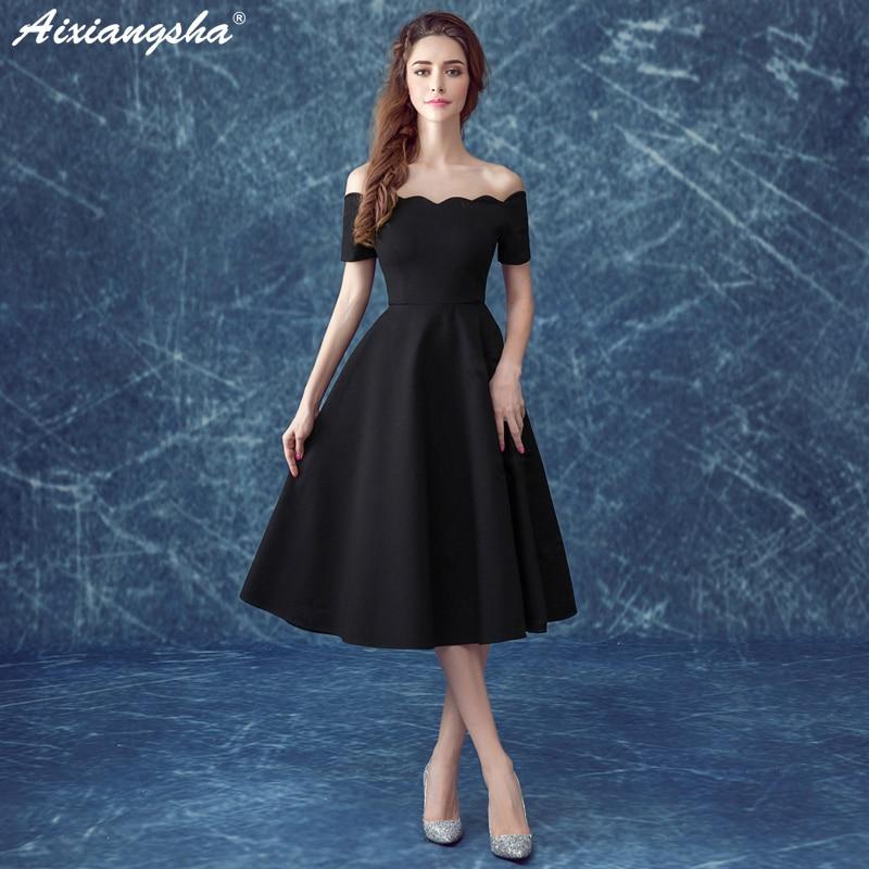 Black Short Prom Dresses 2018 Cheap Satin Dress Elegant Boat ...
