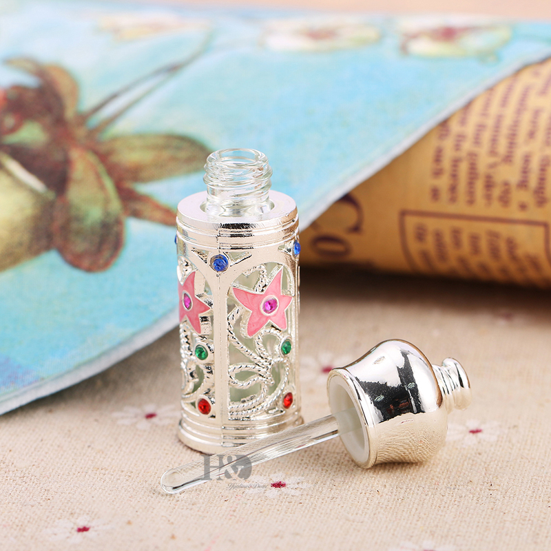 H&D Vintage Metal Glass Jeweled Dropper Essential Oils Perfume Bottle Silver 3ml