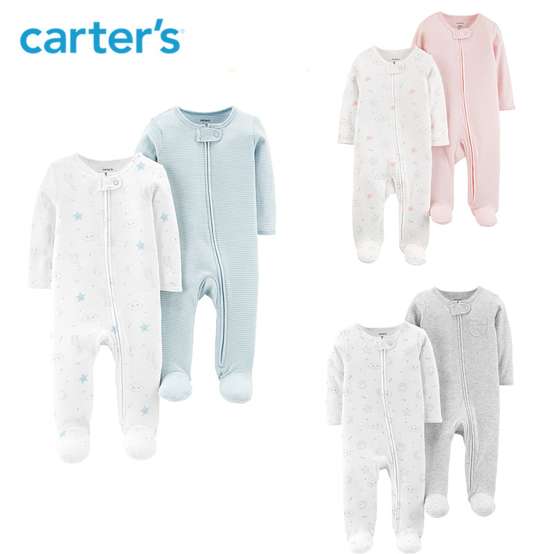 Carters 2-Pack Zip-Up Cotton Sleep & Play Baby boy clothes Soft cotton long sleeve footies newborn baby girl overalls 126H559 все цены
