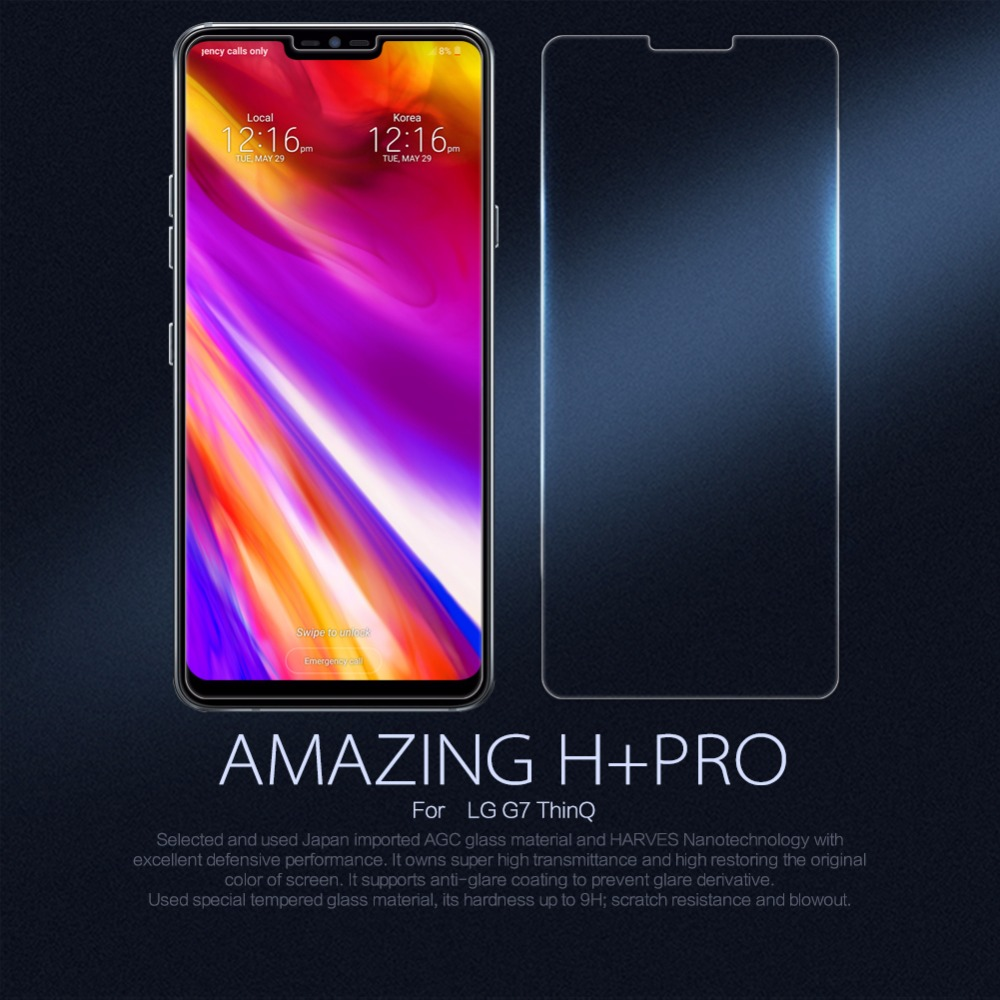Para LG G7 ThinQ Vidro Nillkin Surpreendente H/H + PRO Temperado vidro Protetor de Tela do telefone Para LG G7 ThinQ tampa de Vidro 9 H filme