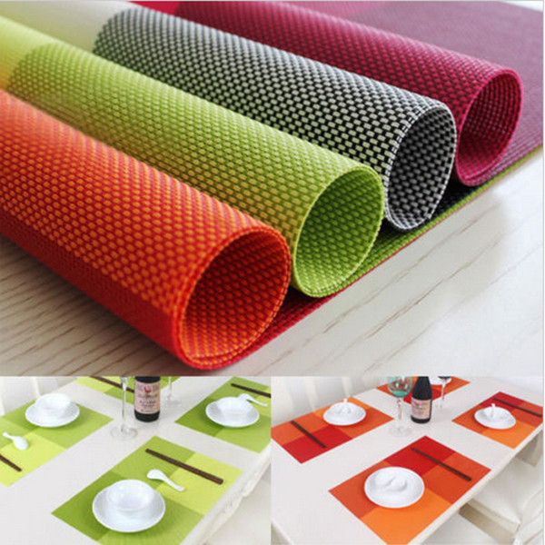 1pcs/lot 45*30cm Rectangular PVC insulation mat table bowls mat Western Placemats Kitchen Dinning Bowl waterproof Pad Mat