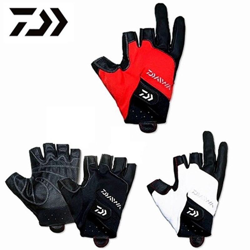1 Pair Daiwa Fishing Gloves Three Finger Cut Anti-slip Gloves Five Finger Cut Waterproof Neoprene Leather Rock Men Fishing Pesca