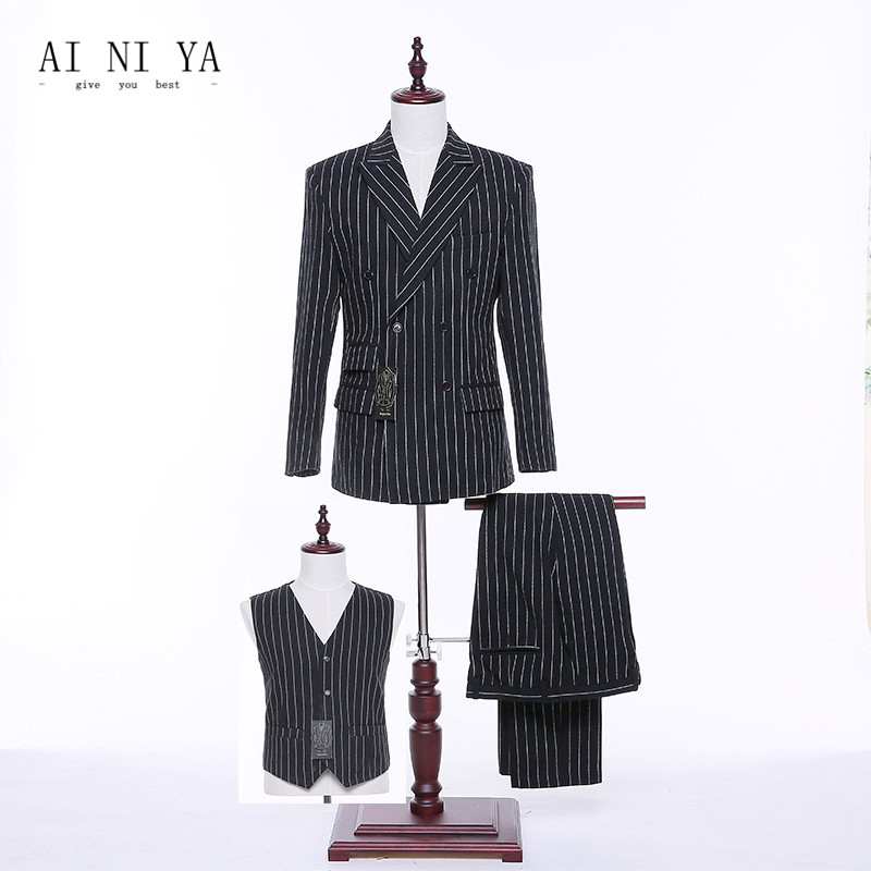 Jacket Pants Vest Black White Striped Women Business Suits Formal Office Suits Work Slim Fit Female
