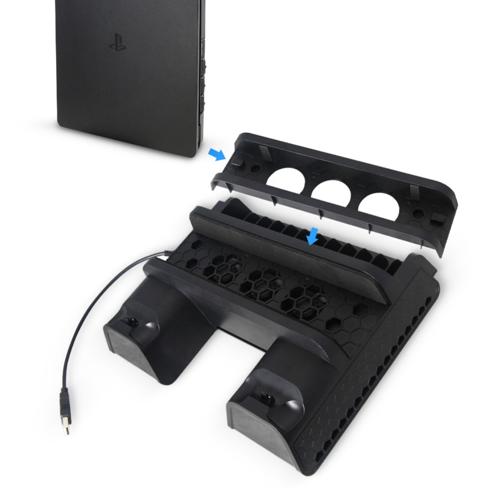 USB 5V Vertical Stand Dual USB Charger Cooling Dock For Pro Console PS4 Slim PS4
